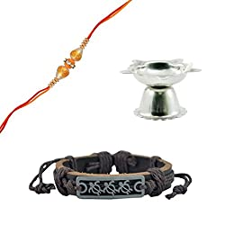 ALPHAMAN Small Therad, That Has Travelled A Long Way Combo Set Of Rakhi & Bracelet (With Pooja Diya)