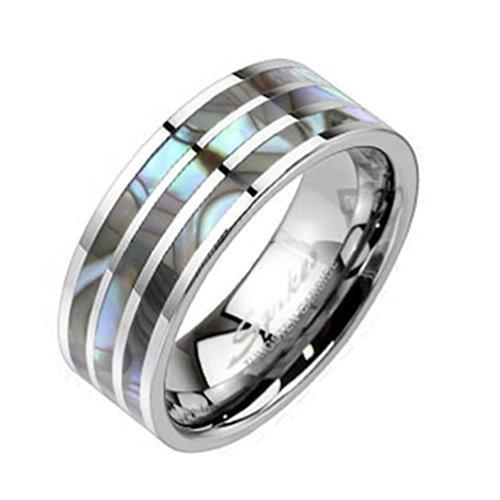 """Coolbodyart Unisex Tungsten Ring argento con """"conchiglia Carbon decorativa"""" disponibile anello misure 60 (19) - 69 (22), Tungsteno, 26, cod. CBAR-TU-208-12"""