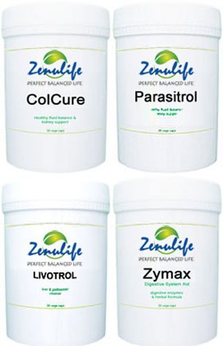 HERBAL DETOX Kit by Zenulife - Detoxify Your Body Naturally 4 Bottles of Capsules Colon Cleanse, Liver Cleanse, Parasite Cleanse, Digestive Support