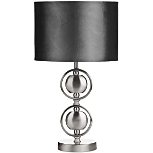 premier housewares lampe de table pied double boule en nickel satin abat jour gris amazon. Black Bedroom Furniture Sets. Home Design Ideas
