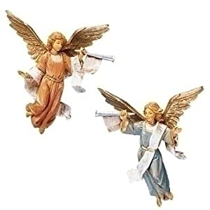 Click to buy Italian Christmas decorations : 4 Fontanini trumpeting angel figurines from Amazon!