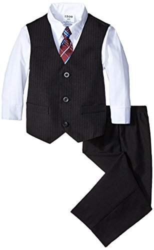 IZOD Little Boys' Plain Stripe Vest Toddler Set, White, 3T/3