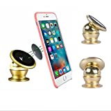 PR Universal 360 Degree Rotating Car Phone Stand, Universal Magnetic Mount Holder For All Phone Sizes, Mobile, tablet or GPS (Golden)-Tata Indigo