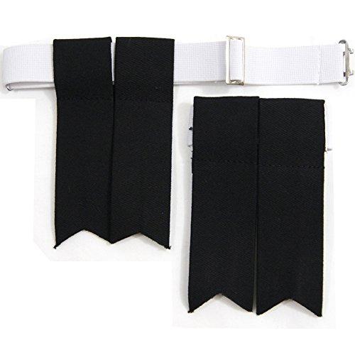 USA Kilts Standard Black Kilt Flashes with Adjustable Elastic Garter