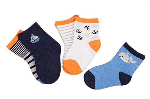 Zando Baby Ragazzi e ragazze cotone assortiti per bambini calzini 6 Pack-Ocean L(3-5 Anni Vecchio)
