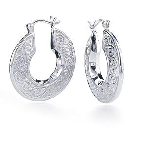 Sterling Silver Swirl Design Round Hoop Earrings