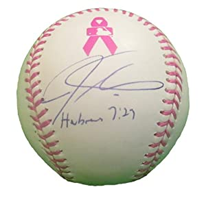 Josh Hamilton Autographed Signed Rawlings Official MLB Breast Cancer Awareness...