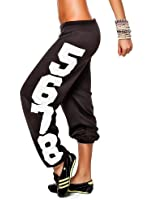 24brands Damen Sporthose Fitnesshose Sweathose Jogginghose Freizeithose Laufhose Trainingshose Tanzhose Sweatpants mit Zahlen-Print - 2078