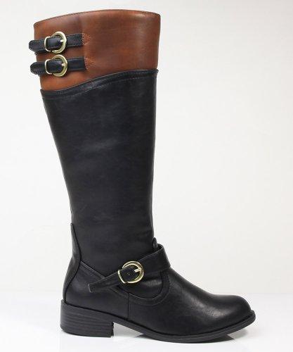 Soda Women Golf-H Boots,8.5 B(M) Us,Black/Tan