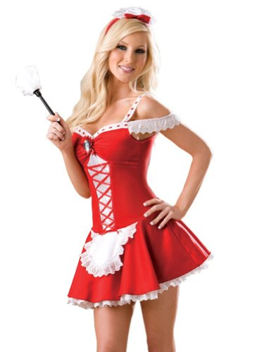 Sexy Maid for the Holidays Costume 4 Piece Set Dress with Attached Petticoat Cameo Brooch Headband and Feather Duster