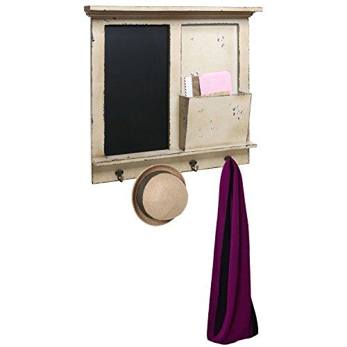 Vintage Wood Wall Mounted Chalkboard Rack, Magazine Holder / Mail Sorter Basket, 4 Coat / Key Hooks 2