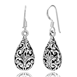 925 Oxidized Sterling Silver Bali Inspired Filigree Puffed Teardrop Dangle Hook Earrings 1.26'' Jewelry for Women - Nickel Free from Chuvora