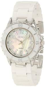 XOXO Women's XO2003 Swarovski Crystal Accented Silver-Tone White Ceramic Bracelet Watch