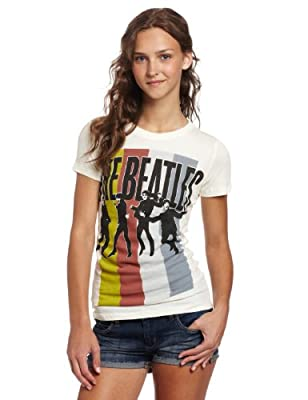FEA Juniors Beatles Stripes Standing Group Tissue Tee, Natural, Large