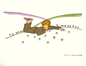 """Little Prince Dreaming (md) by Antoine de Saint Exupery 12.25""""x15.5"""" Art Print Poster"""