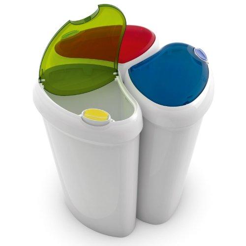 Recycling Mülleimer abfalleimer praktisches 3er set mit je 25 liter mit farbigen