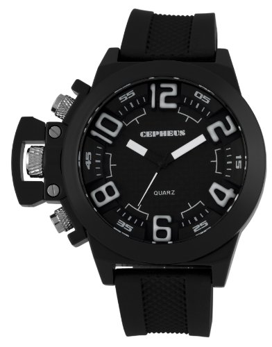 Cepheus Men's Quartz Watch with Black Dial Analogue Display and Black Silicone Strap CP901-622A