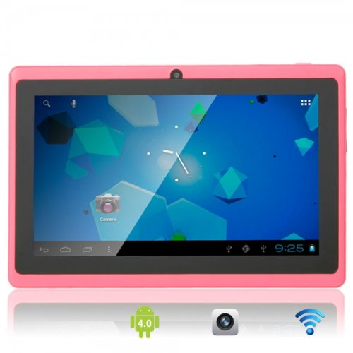 FastTouch(TM) 7 INCH DUAL CAMERA TABLET PC - PINK 4GB, GOOGLE ANDROID 4.1, ALLWINNWER A13 BOXCHIP CORTEX A8, 512MB RAM, MULTIILPE Border SCREEN, WIFI, SKYPE, NETFLIX MOVIES