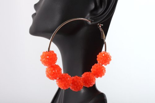 Neon Orange Shamballah 2.25 Inch Hoop Earrings with 7 Disco Balls Basketball Mob Wives Lady Gaga Poparazzi