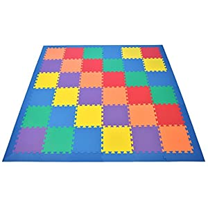 Non-Toxic Rainbow foam Wonder Mats w/ Blue Edges: Non-Recycled Quality & Waterproof Extra Thick 36 Pieces 6 Colors