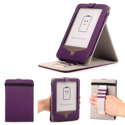 Mulbess - eReader eBook Tolino Shine Stand Leder Tasche Hülle Case - Schutzhülle Case Tasche Etui Sleeve Cover mit Standfunktion + Elastische Handschlaufe Farbe Violett
