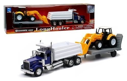 New 1:32 KENWORTH W900 DUMP TRUCK WITH WHEEL LOADER & Trailer SS-10663 Diecast Model By NEW RAY TOYS (1 32 Die Cast Trucks And Trailers compare prices)