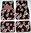 Red Hawaiian Hibiscus Carpet Front &amp; Rear Car Truck Floor Mats