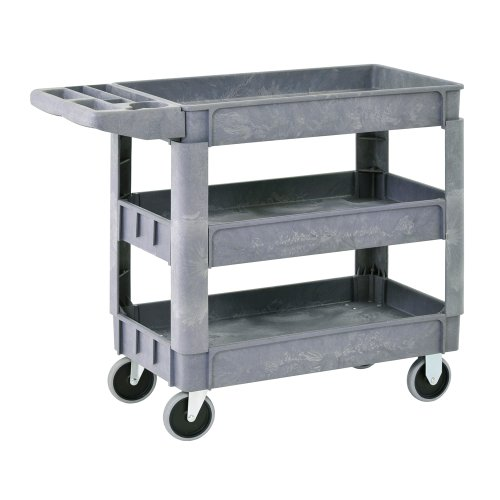 Sandusky PUC174033-3 Gray Heavy Duty Plastic Utility Cart, 3 Shelves, 40