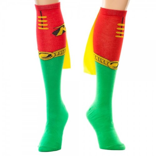 Robin Unisex Superhero Socks With Capes (One Size, Red/Green)