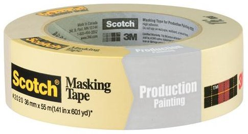 3M 2020 Scotch Masking Tape for Production Painting, 1.41-Inch x 60.1-Yard, 4-Pack