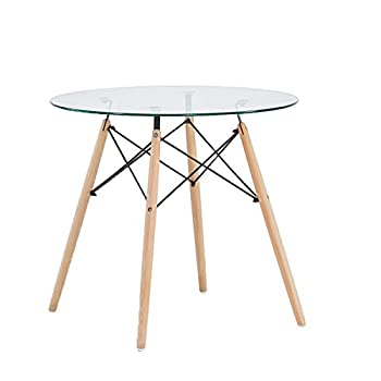 Green Forest GreenForest Dining Table Round Clear Glass Table Modern Style Table for Kitchen Dining Room Coffee Table with Wood Legs