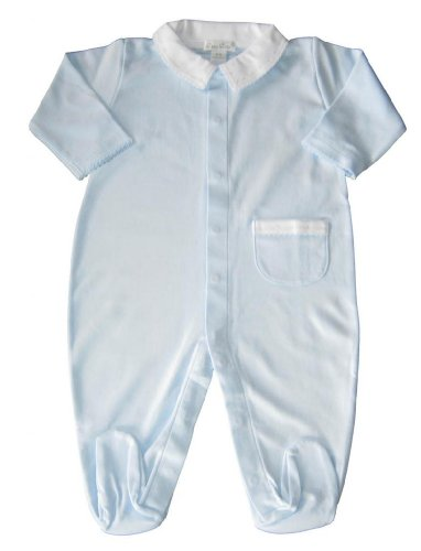 Kissy Kissy Baby-Boy Infants New Beginnings Collared Footie-Light Blue-Newborn front-1019310