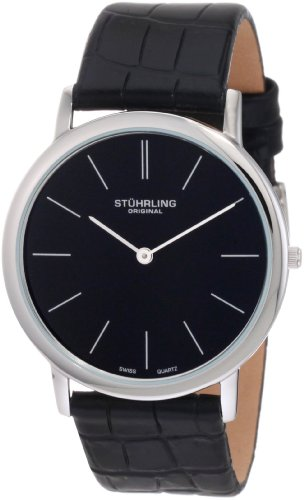 Stuhrling Original Men's 601.33151 Classic Ascot Swiss Quartz Ultra Thin Stainless Steel Black Dial Leather Strap Watch