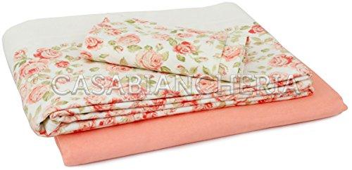 Completo lenzuola di flanella COLETTE rosa di GABEL