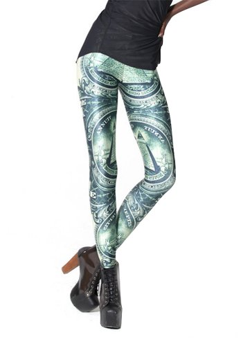 Women'S Fashion Digital Print The Dollar Pattern Sexy Leggings