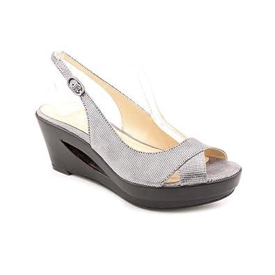 Calvin Klein Women's Rosaria Mini Square Wedge Sandal (Anthracite, 6.5)