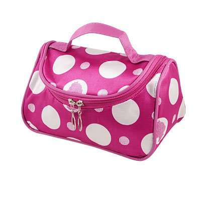 White Dotted Cosmetic Holder Magenta Makeup Case Bag for Woman