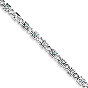 Sterling Silver Blue Topaz & Diamond Bracelet, 7.5 inches, Outstanding Bracelets For Women