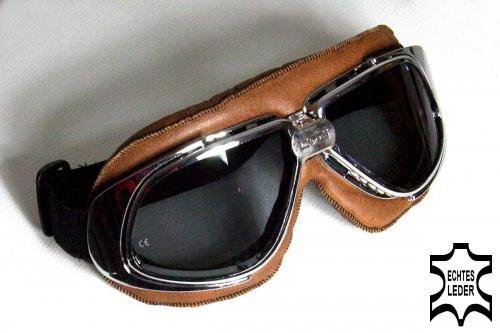 Motorcycle goggles brown, smoke-tinted lenses, chrome frame, REAL-LEATHER