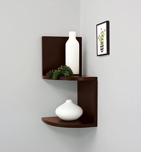 nexxt Priva Set of 2 Corner Shelves, 7.75-Inch by 7.75-Inch Each, Espresso