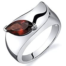 buy Garnet Ring Sterling Silver Rhodium Nickel Finish Marquise Shape 1.25 Carats Size 6