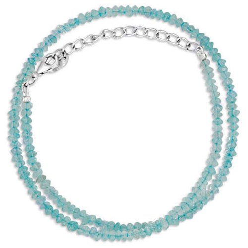 925 Sterling Silver Blue Topaz 4 mm Natural Gemstone Designer Beads Strand 19 Inches Necklace With Lobster Closure