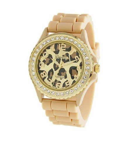 Geneva Womens Designer Inspired Leopard Print Rhinestone Silicone Rubber Watch In Bone And Gold