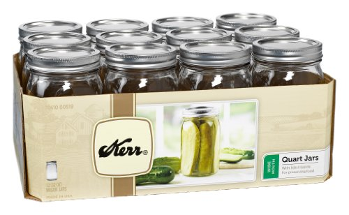Kerr 519 Wide Mouth Jars with Lids and Bands, 32-Ounce, Set of 12