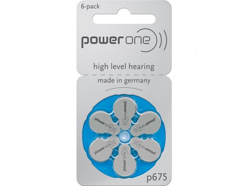 POWER ONE HEARING AID BATTERY SIZE 675 -6 PCS