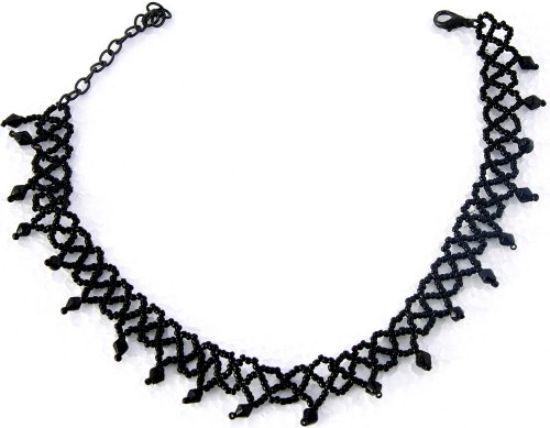 Black Beaded Collar Necklace -