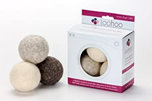 LooHoo Wool Dryer Balls - Deluxe Starter 3-Pack - Natural Shades