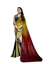 Pramukh saris Womens Georgette Printed Sari(Red,Yellow,Black)