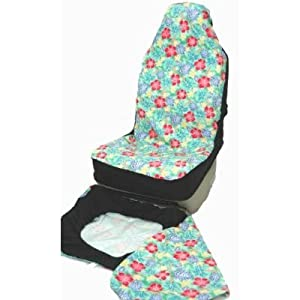 hawaiian car seat covers green pink flower. Black Bedroom Furniture Sets. Home Design Ideas