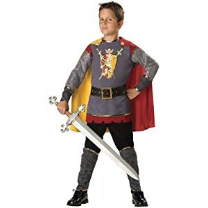 In Character Costumes, LLC Boys 8-20 Loyal Knight Tunic Set, Silver/Burgundy, Medium
